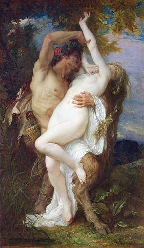 pinturas-de-retratos - Quadro -Nymph Abducted by a Faun, 1860- - Cabanel, Alexander