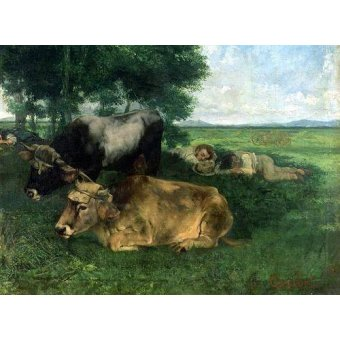 animals - Picture -La Siesta Pendant la saison des foins, 1867- - Courbet, Gustave