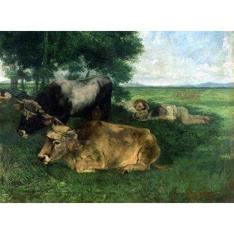 quadros de animais - Quadro -La Siesta Pendant la saison des foins, 1867- - Courbet, Gustave