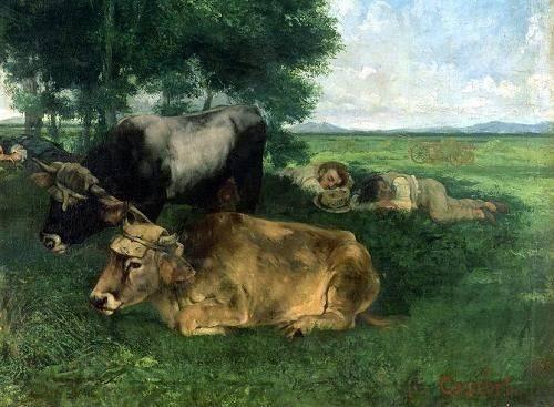quadros-de-animais - Quadro -La Siesta Pendant la saison des foins, 1867- - Courbet, Gustave