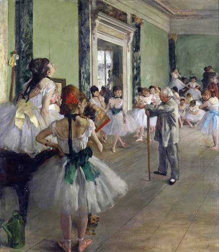 pinturas-de-retratos - Quadro -The Dancing Class, c.1873-76 (oil on canvas).- - Degas, Edgar