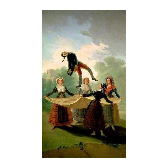 pinturas do retrato - Quadro -El Pelele (The Puppet) 1791-2 (oil on canvas).-