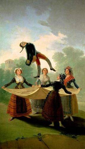 pinturas-de-retratos - Quadro -El Pelele (The Puppet) 1791-2 (oil on canvas).- - Goya y Lucientes, Francisco de
