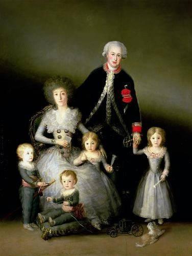 pinturas-de-retratos - Quadro -El Duque de Osuna y su familia, 1788- - Goya y Lucientes, Francisco de