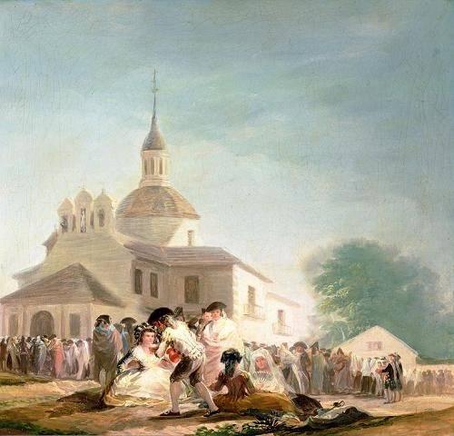 quadros-de-paisagens - Quadro -La Ermita de San Isidro, Madrid, 1788- - Goya y Lucientes, Francisco de