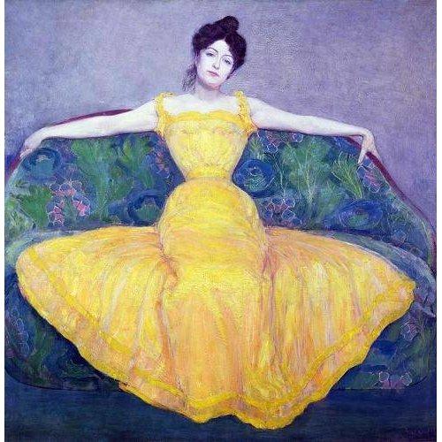 pinturas do retrato - Quadro -Lady in a Yellow Dress, 1899-