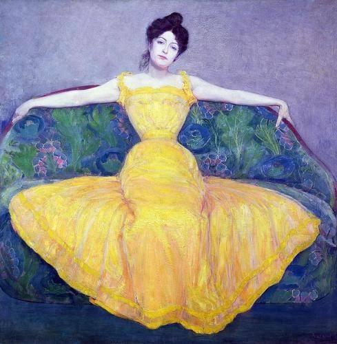 pinturas-de-retratos - Quadro -Lady in a Yellow Dress, 1899- - Kurzweil, Max