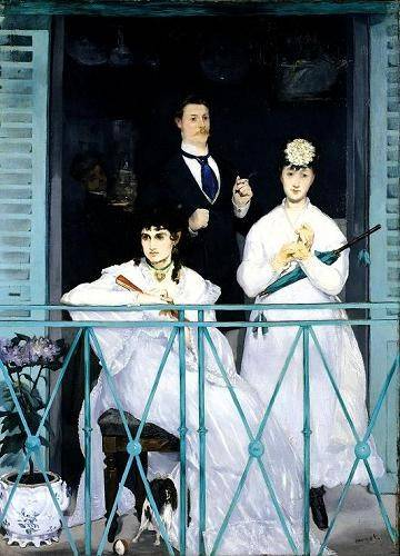 pinturas-de-retratos - Quadro -The Balcony, 1868-9 (oil on canvas).- - Manet, Eduard