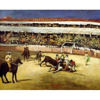 cuadros de fauna - Cuadro -Bull Fight, 1865 (Corrida de toros).- - Manet, Eduard