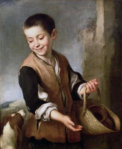 pinturas-de-retratos - Quadro -Muchacho con un perro, c.1650- - Murillo, Bartolome Esteban