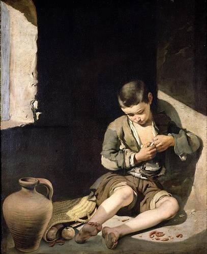 pinturas-de-retratos - Quadro -El joven mendigo, c 1650- - Murillo, Bartolome Esteban