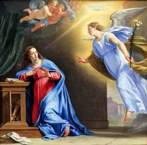 religious paintings - Picture -La Anunciación- - Champaigne, Philippe de