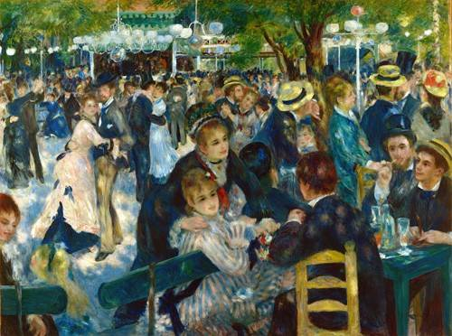 pinturas-de-retratos - Quadro -Ball at the Moulin de la Galette, 1876- - Renoir, Pierre Auguste