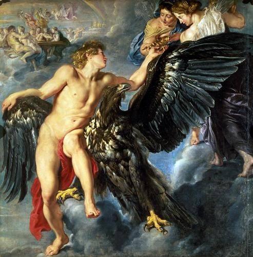 pinturas-de-retratos - Quadro -The Kidnapping of Ganymede- - Rubens, Peter Paulus