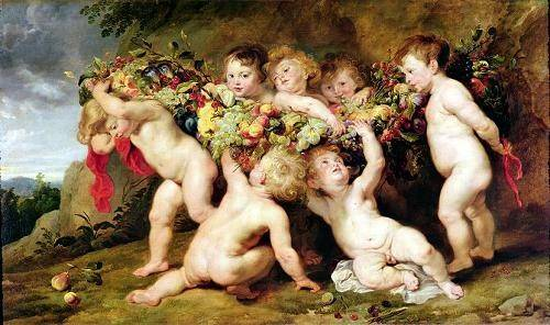 pinturas-de-retratos - Quadro -Garland of Fruit, c.1615-17- - Rubens, Peter Paulus