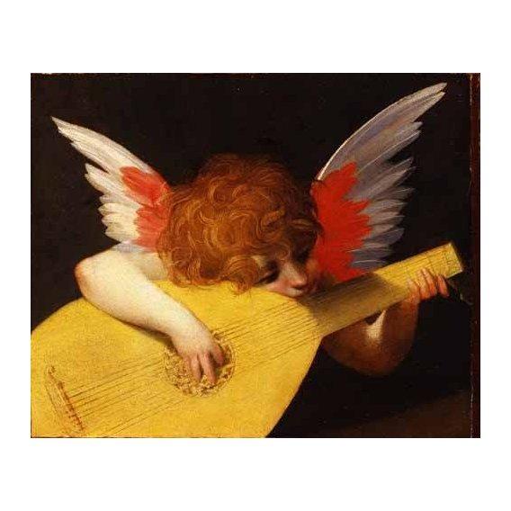 cuadros religiosos - Cuadro -Angel tocando el laúd-