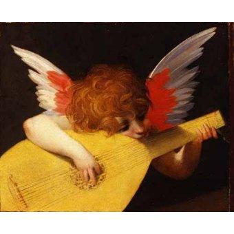 pinturas de retratos - Quadro -Angel tocando el laúd- - Fiorentino, Rosso