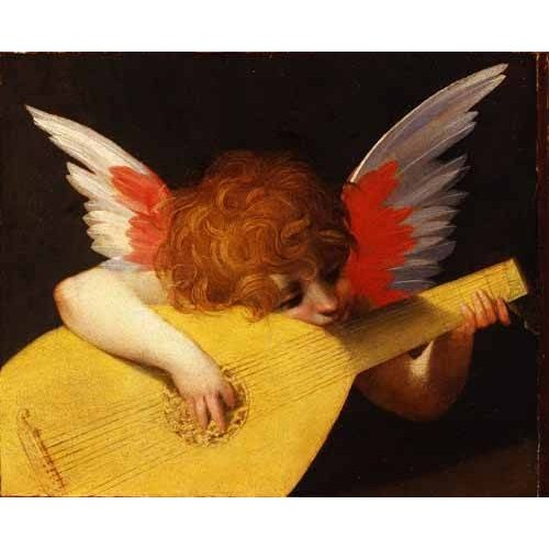 religious paintings - Picture -Angel tocando el laúd-