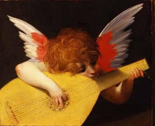 cuadros religiosos - Cuadro -Angel tocando el laúd- - Fiorentino, Rosso