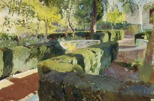 quadros-de-paisagens - Quadro -Jardin de la casa del artista (IV)- - Sorolla, Joaquin