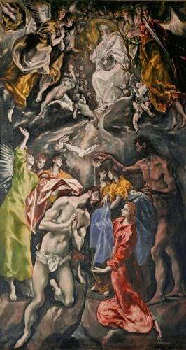 quadros-religiosos - Quadro -El Bautismo De Cristo- - Greco, El (D. Theotocopoulos)