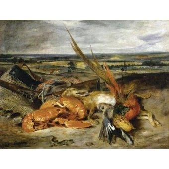 naturezas mortas - Quadro -Bodegón con langosta, 1827- - Delacroix, Eugene