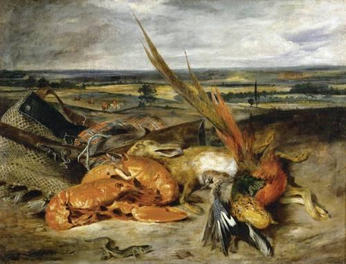 naturezas-mortas - Quadro -Bodegón con langosta, 1827- - Delacroix, Eugene