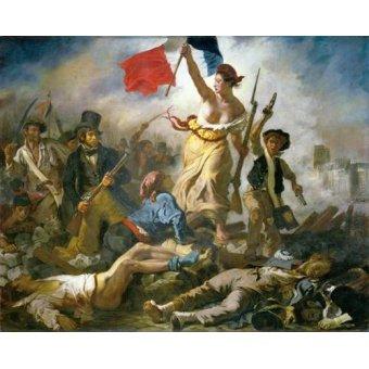 pinturas de retratos - Quadro -28 de Julio, La Libertad Guiando Al Pueblo- - Delacroix, Eugene