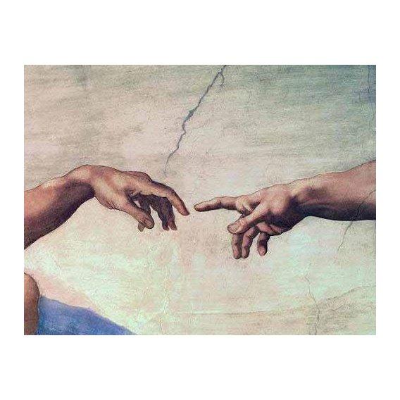 cuadros religiosos - Cuadro -Manos de Dios y Adán, detalle de la Creación-