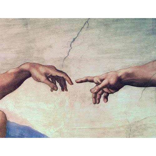 Quadro -Manos de Dios y Adán, detalle de la Creación-