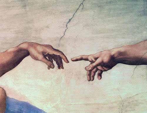 cuadros religiosos - Cuadro -Manos de Dios y Adán, detalle de la Creación- - Buonarroti, Miguel Angel