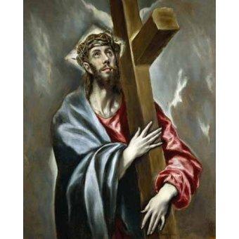 quadros religiosos - Quadro -Cristo portando la Cruz- - Greco, El (D. Theotocopoulos)