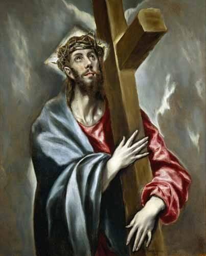 cuadros religiosos - Cuadro -Cristo portando la Cruz- - Greco, El (D. Theotocopoulos)
