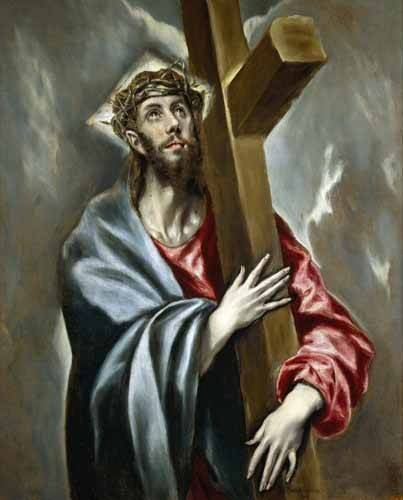 religious paintings - Picture -Cristo portando la Cruz- - Greco, El (D. Theotocopoulos)