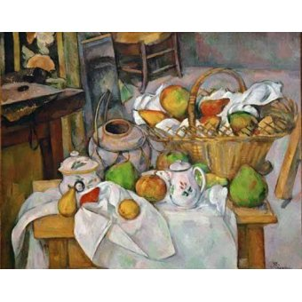 - Quadro -Bodegón con cesto de fruta- - Cezanne, Paul