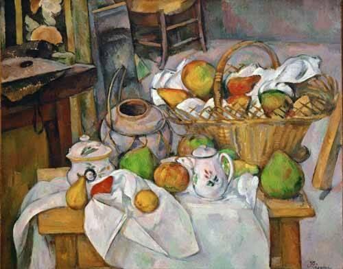 cuadros de bodegones - Cuadro -Bodegón con cesto de fruta- - Cezanne, Paul
