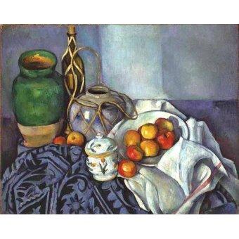 cuadros de bodegones - Cuadro -Bodegón con ollas y frutas (1890)- - Cezanne, Paul