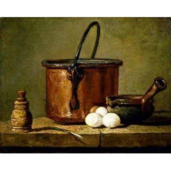 naturezas mortas - Quadro -Utensilios de cocina- - Chardin, Jean Bapt. Simeon