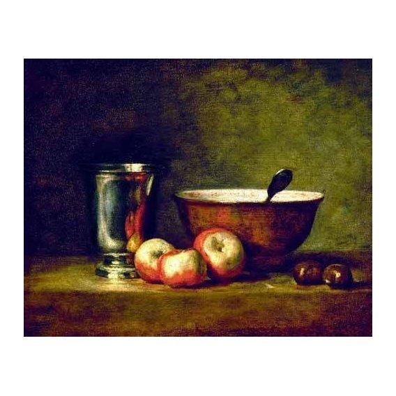 cuadros de bodegones - Cuadro -Manzanas, castañas, escudilla y cubilete-