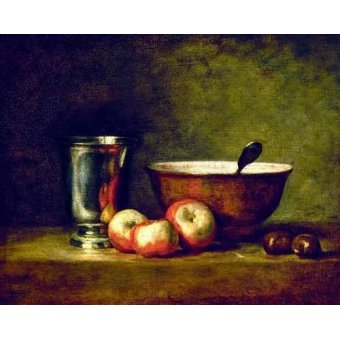 naturezas mortas - Quadro -Manzanas, castañas, escudilla y cubilete- - Chardin, Jean Bapt. Simeon