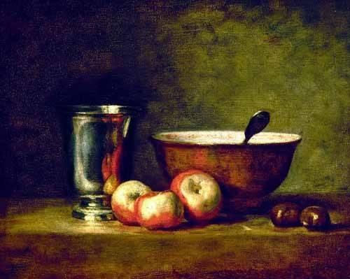 cuadros de bodegones - Cuadro -Manzanas, castañas, escudilla y cubilete- - Chardin, Jean Bapt. Simeon