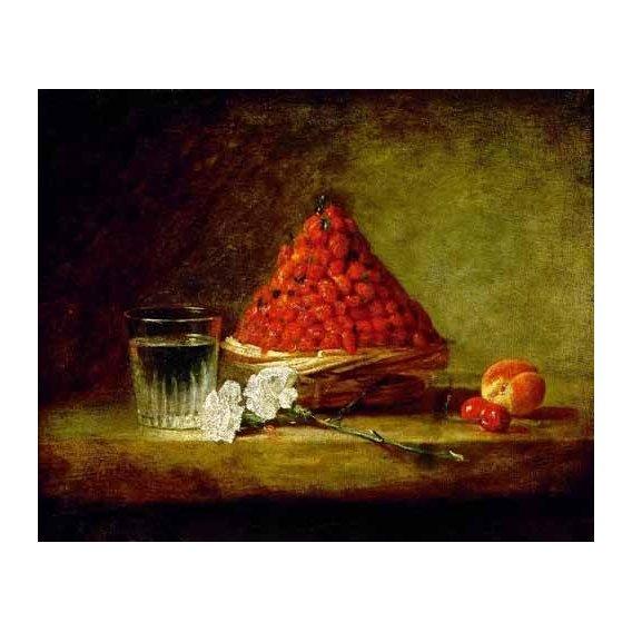 cuadros de bodegones - Cuadro -Cesto con fresas salvajes-