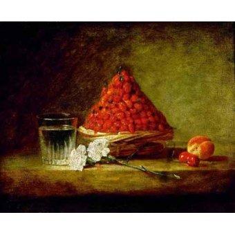naturezas mortas - Quadro -Cesto con fresas salvajes- - Chardin, Jean Bapt. Simeon