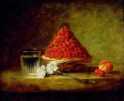 Still life paintings - Picture -Cesto con fresas salvajes- - Chardin, Jean Bapt. Simeon