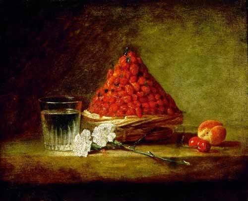 naturezas-mortas - Quadro -Cesto con fresas salvajes- - Chardin, Jean Bapt. Simeon