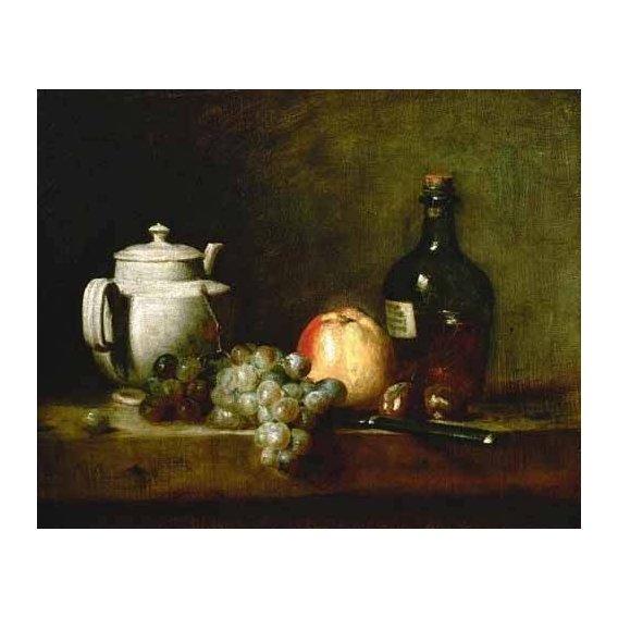 naturezas mortas - Quadro -Tetera blanca, uvas, castañas, cuchillo y botellas-