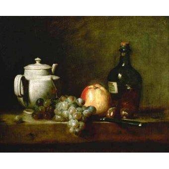 naturezas mortas - Quadro -Tetera blanca, uvas, castañas, cuchillo y botellas- - Chardin, Jean Bapt. Simeon