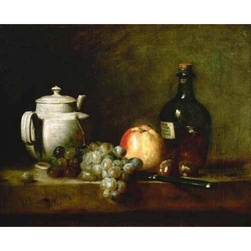 Picture -Tetera blanca, uvas, castañas, cuchillo y botellas-