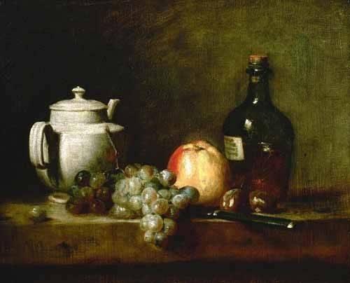 naturezas-mortas - Quadro -Tetera blanca, uvas, castañas, cuchillo y botellas- - Chardin, Jean Bapt. Simeon