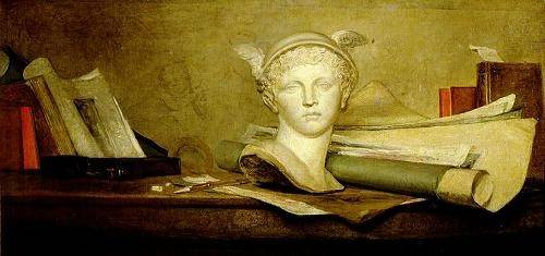 naturezas-mortas - Quadro -Still Life with Attributes of the Arts- - Chardin, Jean Bapt. Simeon